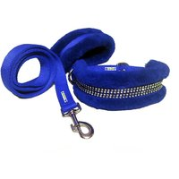 Petshop7 Nylon Dog Collar  Leash With Fur 1.25 Inch-Blu