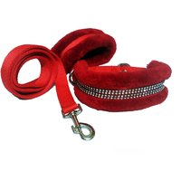 Petshop7 Nylon Dog Collar  Leash With Fur 1.25 Inch-Red
