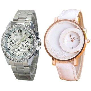 i DIVA'S Paidu Silver Stone Studded Paidu  White FreeMoving Diamond Analog Wrist Watch for Women Pack Of 2