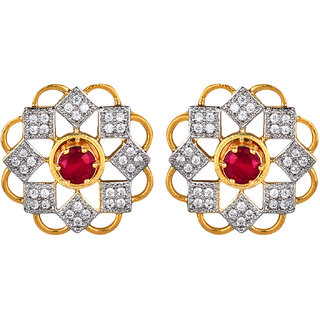 730711a5e06 Buy Navya Collection Studded Ruby Designed American Diamond Gold Plated  Earrings For Woman Girls Online - Get 81% Off