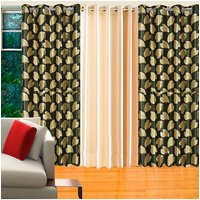 Deal Wala Pack Of 2 Bale Design Green & 1 Cream Door Curtain - Vip133
