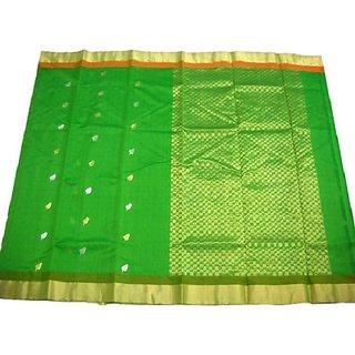 Green Silk Cotton Chanderi Saree