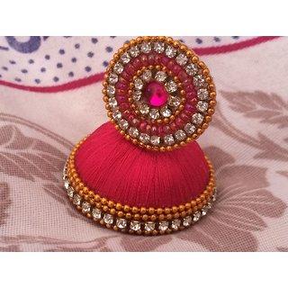 Silk Thread Earrings Pink Colour