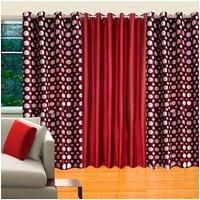 Deal Wala Pack Of 2 Dots Design Maroon & 1 Maroon Eyelet Door Curtain - Vip155