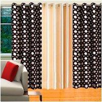 Deal Wala Pack Of 2 Dots Design Brown & 1 Cream Eyelet Door Curtain - Vip158