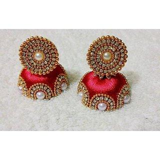 Silk Thread Earring Red Colour