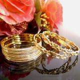 New Fancy Design Gold Plated 6 Pc Bangle Set (size 2.6)
