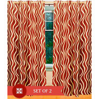 Deal Wala Pack Of 2  Waves Design Red Color Eyelet Door Curtain - Vip170