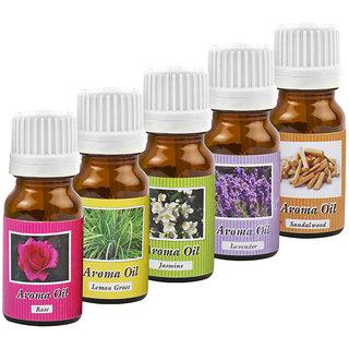 ZARSA Set of 5 Aroma Oil for Aroma Diffuser Air Freshner - Rose, Lemon Grass, Jasmine, Sandalwood  Lavender-10ml Each
