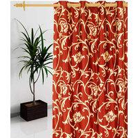 Deal Wala 1 Piece Of Leafs Design Rust Color Eyelet Door Curtain -vip172