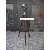 Nautical Electric Floor Searchlight With Brown Wood Tripod Stand Spotlight Lamp