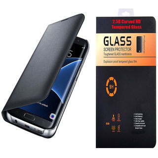 best value 99157 e261c Samsung Galaxy J7 Prime Black Leather Flip Cover with 9H Curved Edge  Tempered Glass