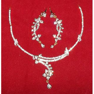 Beautiful (Sleek) Necklace Set In American Diamond