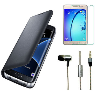 Vivo V5 Black Leather Flip Cover with 9H Tempered Glass with Perfumed Noise Cancellation Earphones with Mic
