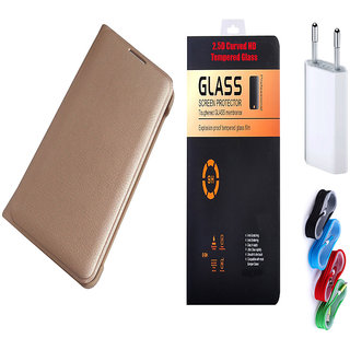 Redmi Note 4 Golden Leather Flip with 9H Tempered Glass and Nylon Braided USB Travel Charger