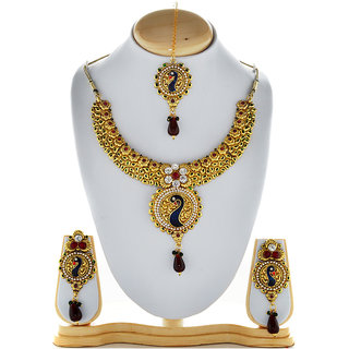 Asian Pearls & Jewels Multi Colour Peacock Necklace Set
