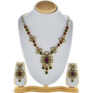 Asian Pearls & Jewels Necklace Set With Pendant