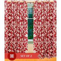 Deal Wala Pack Of 2 Leafs Design Maroon Eyelet Door Curtain - Vip174