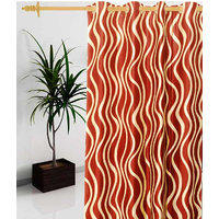 Deal Wala 1 Piece Of Waves Design Red Color Eyelet Door Curtain - Vip171