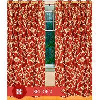 Deal Wala Pack Of 2 Leafs Design Rust  Eyelet Door Curtain - Vip173