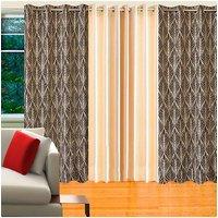 Deal Wala Pack Of 2 Trap Design Brown & 1 Cream Eyelet Door Curtain - Vip179