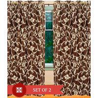 Deal Wala Pack Of 2 Leafs Design Brown  Eyelet Door Curtain - Vip200