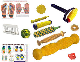 Acupressure Full Body Kit Foot Roller Cut Wooden Massager With Chart  Full Massager