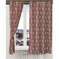 Deal Wala Pack Of 2 Trap Design Maroon Eyelet Door Curtain - Vip208