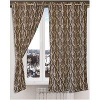 Deal Wala Pack Of 2 Trap Design Brown Eyelet Door Curtain - Vip209