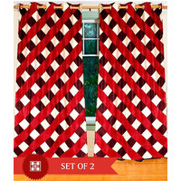 Deal Wala Pack Of 2 Box Design Red Color Eyelet Door Curtain - Vip212