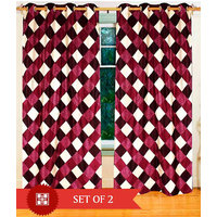 Deal Wala Pack Of 2 Box Design Maroon Eyelet Door Curtain - Vip217
