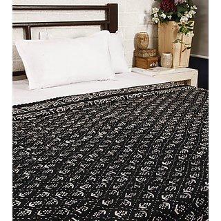Sanganeri Print with Kantha work Black Bed Spread