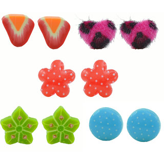 "Angel Glitter ""Polka Fruit In Greeny Summer"" 5-Earrings Set"