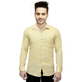 Knight Riders Slimfit Plain Cream linen Shirt