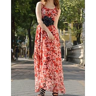 Rc Red Roses Print Maxi Dress With Belt
