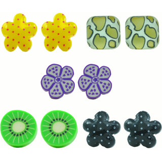 "Angel Glitter ""Polka Flower In Greeny Summer"" 5-Earrings Set"