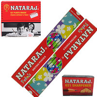 Natraj Pencils - Jumbo Pack - 100 pencils( With 10 Erasers  10 Sharpeners Free)