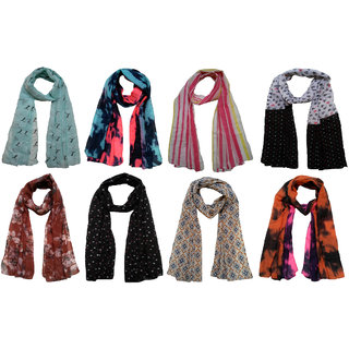 Printed Poly cotton set of Eight Scarf and Stoles for women