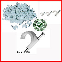 6-7mm White Clips Electrical Coaxial Cable Clips For RG-6 Pack Of 100 Clips