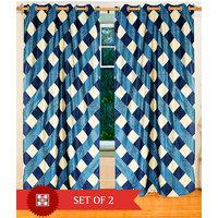 Deal Wala Pack Of 2 Box Design Sky Blue Eyelet Door Curtain - Vip221