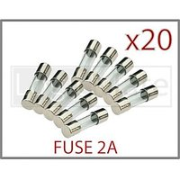 20 Pcs Fast Blow Miniature 20 Mm Cartridge Glass Fuse 2A 250V 20mm