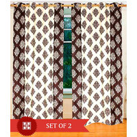 Deal Wala Pack Of 2 Mask With Border Design Brown Eyelet Door Curtain - Vip234