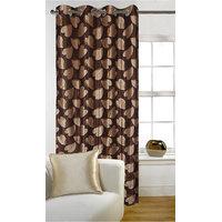 Deal Wala 1 Piece Of Bale Design Brown Color Eyelet Door Curtain - Vip251