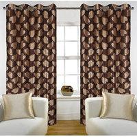 Deal Wala Pack Of 2 Bale Design Brown Color Eyelet Door Curtain - Vip252
