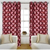 Deal Wala Pack Of 2 Bale Design Maroon Color Eyelet Door Curtain - Vip256