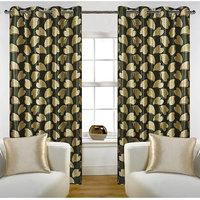 Deal Wala Pack Of 2 Bale Design Green Color Eyelet Door Curtain - Vip258