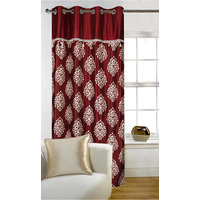 Deal Wala 1 Piece Of Mask With Lace Maroon Color Eyelet Door Curtain -vip263