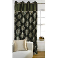 Deal Wala 1 Piece Of Mask With Lace Design Dark Green Door Curtain -vip267