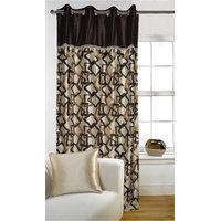 Deal Wala 1 Piece Of Gemetric Design Brown Color Eyelet Door Curtain -vip269