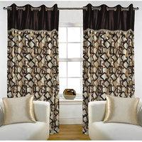 Deal Wala Pack Of 2 Gemetric Design Brown Eyelet Door Curtain - Vip270